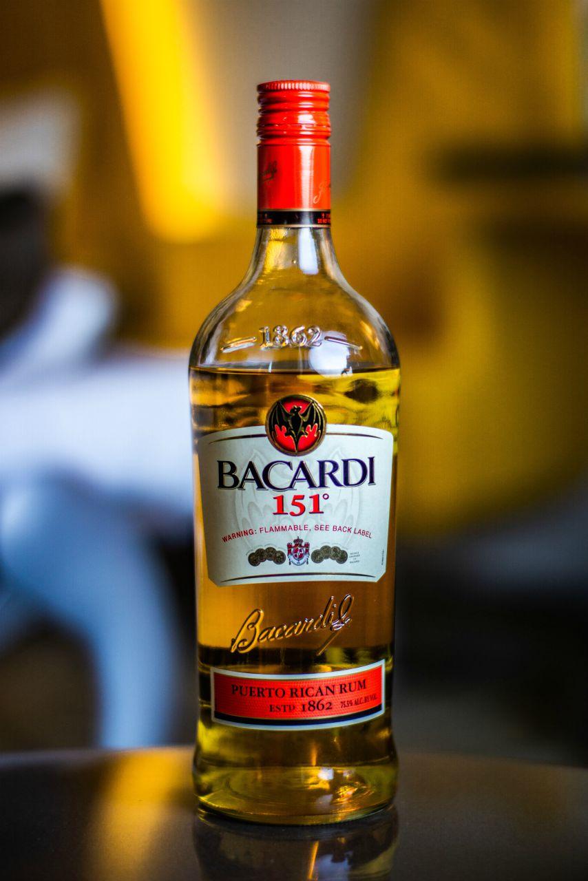 bottle of bacardi 151 overproof rum