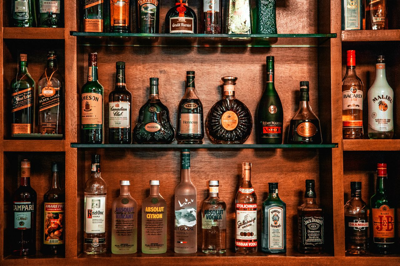 assorted bottles of liquor on shelf