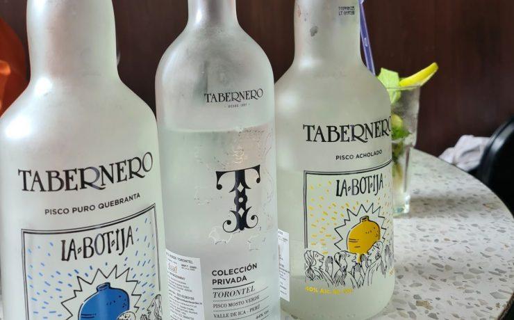 La Botija Quebranta and Acholado with Mosto Verde pisco bottles